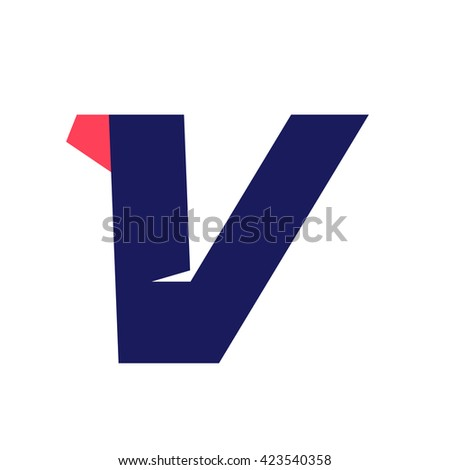 V letter run logo design template. Vector sport style typeface for sportswear, sports club, app icon, corporate identity, labels or posters. - stock vector
