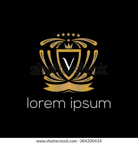 V letter vector logo template (sign, symbol, emblem, ornament, blazon)