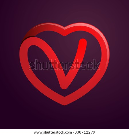 V Letter Red Heart Vector Design Stock 338712299