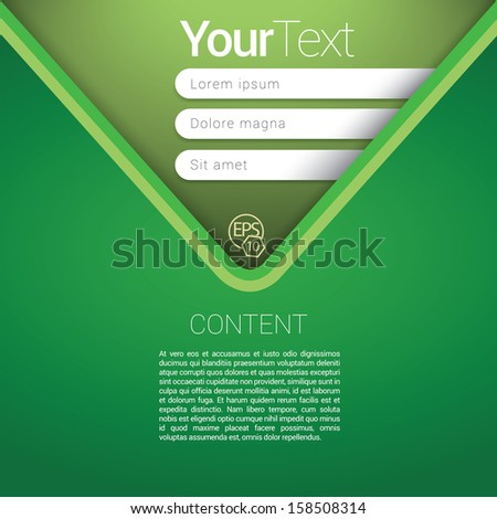 V shape, green color  edition of a scalable abstract geometric flat gui design for placing objects, images, icons, photos, and content. For print, for desktop, application or for universal use. - stock vector