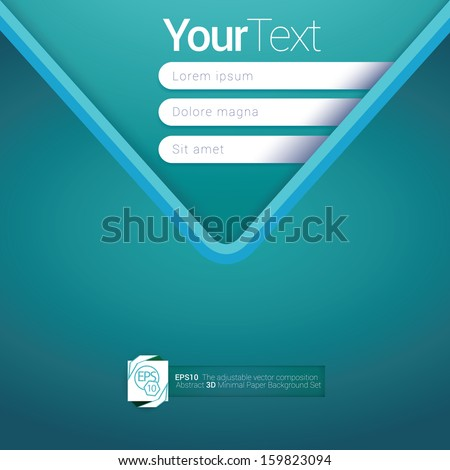 V shape, light blue turquoise edition of a scalable abstract geometric flat gui design for placing objects, images, icons, photos, and content. For print & desktop & application or for universal use. - stock vector