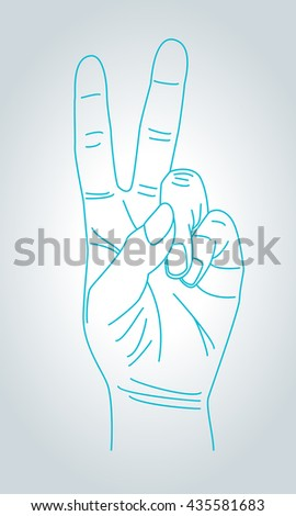 V sign hand gesture. Victory and peace gesture symbol in thin line style.