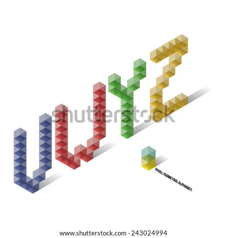 V W Y Z - Pixel Isometric Title Alphabet - Vector Illustration - Typography Element - stock vector