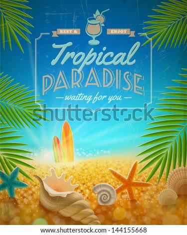 Vacation and summer holidays retro vector design - stock vector