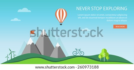 Vacation and travel banner with mountain landscape. Eps10 - stock vector
