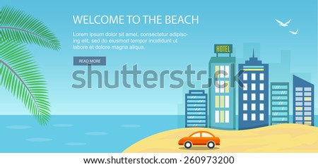 Vacation and travel banner with urban landscape. Eps10 - stock vector