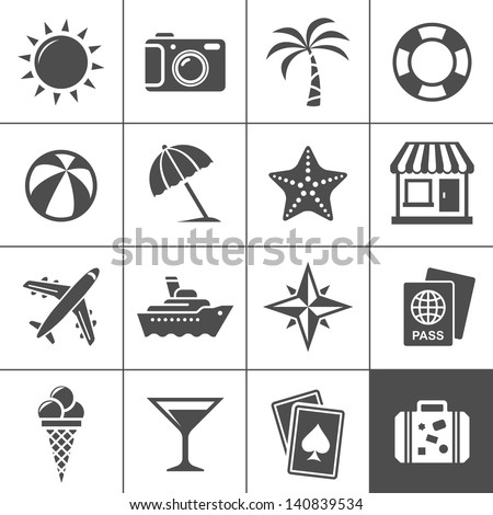 Vacation and travel icon set. Simplus series. Each icon is a single object (compound path) - stock vector