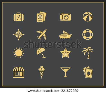 Vacation and travel icon set. Vector illustration - stock vector
