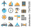 Vacation and travel icons - stock vector
