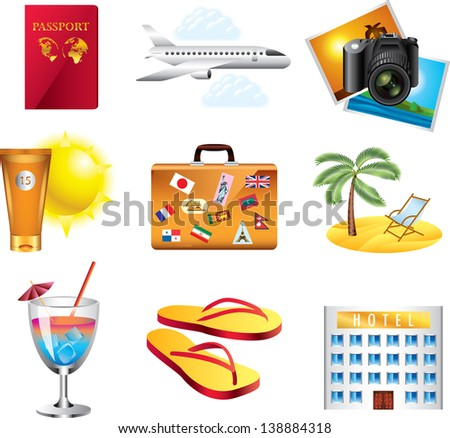 vacation and travel icons detailed vector set - stock vector