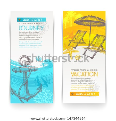 Vacation and travel vector vertical banners with lettering and hand drawn elements - stock vector