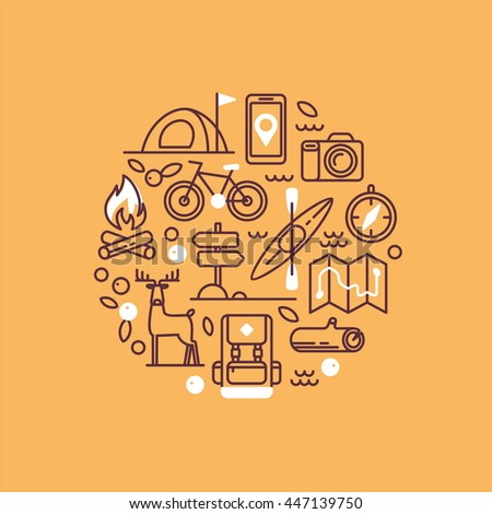 Vacation, camping, hiking, adventure, extreme sports, outdoor recreation, wilderness collection. Set of line vector icons.