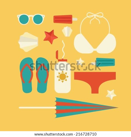 Vacation flat design concept - stock vector