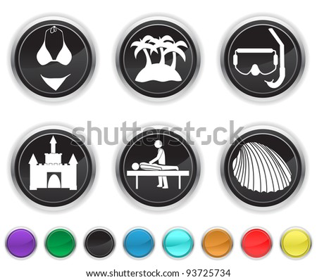 vacation icons,each color icon is set on a different layer - stock vector