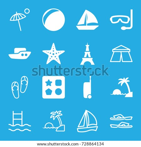 Vacation icons set. set of 16 vacation filled and outline icons such as eiffel tower, boat, from toy for beach, sailboat, starfish, island, suitcase, aqualung, tent