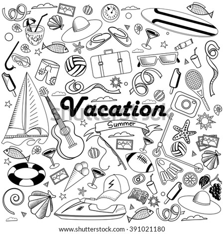 Vacation line art design vector illustration. Black and white design elements. Separate objects.