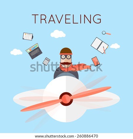 Vacation. Man in flying plane. Happy weekend. Traveling on airplane. Summer holiday. Tourism and journey Flat design vector illustration. - stock vector