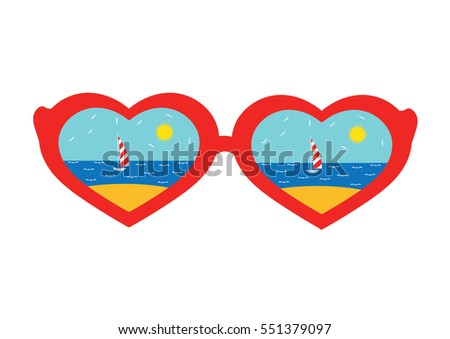 Vacation. Sunglasses in the shape of hearts with the reflection of the beach. Vector illustration.
