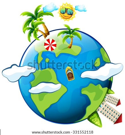 Vacation theme with scenes on earth illustration