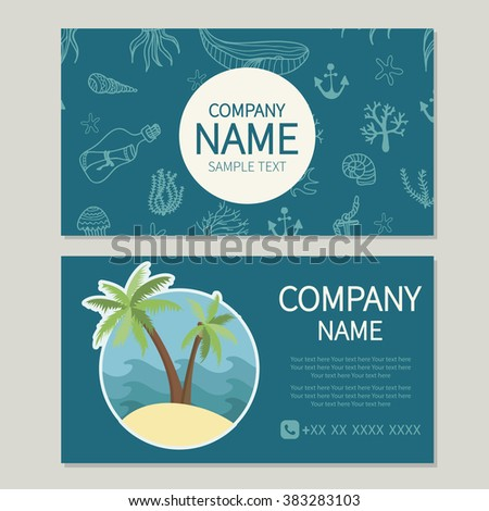 Vacation tourism travel travel agency beach stock vector 383283103 travel agency beach tropics business card reheart Images