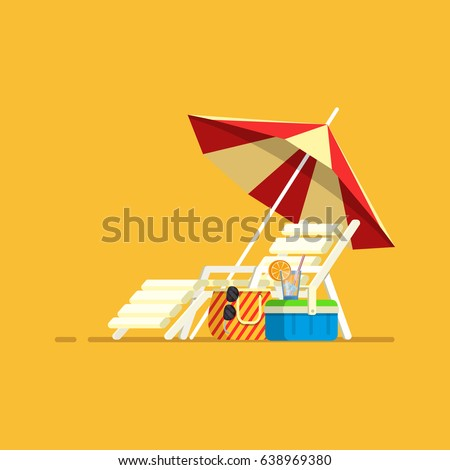 Beach Umbrella, Beach Chair.