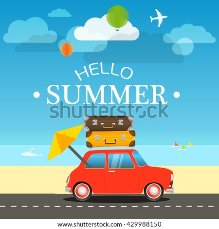 Vacation traveling concept. Flat design illustration - stock vector