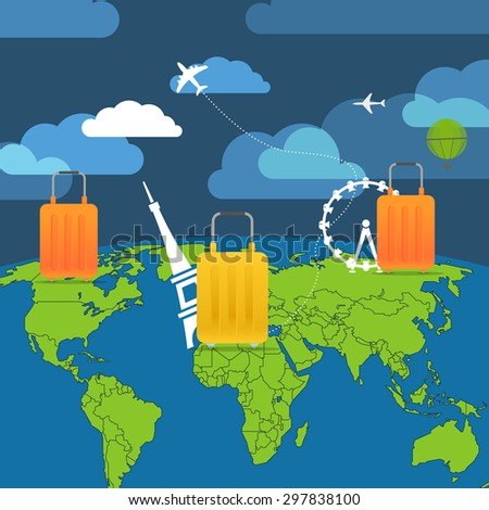 Vacation travelling composition with the bags - stock vector