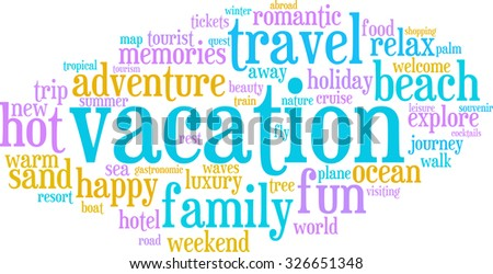 Vacation word cloud on a white background.
