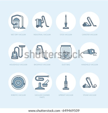 vacuum cleaners flat line icons different stock vector 649469509 rh shutterstock com Hand Vacs Walmart Black and Decker Hand Vac