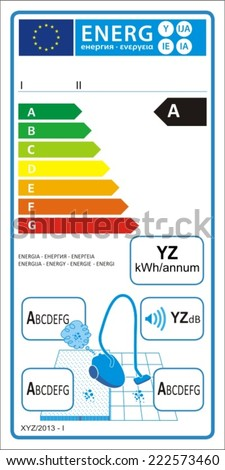 Vacuum cleaners new energy rating graph label in vector. - stock vector