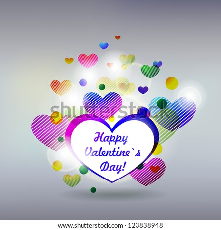 Valentin`s Day Card or invitation with hearts background - stock vector