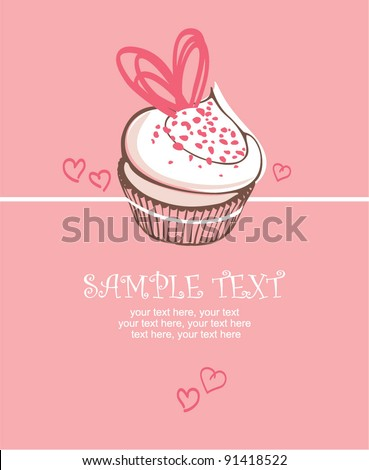 Valentin`s Day card with cupcake - stock vector