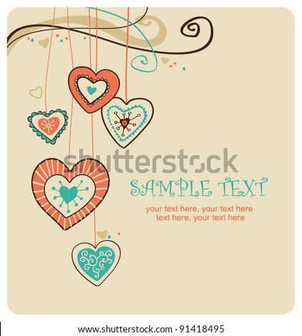 Valentin`s Day card with hearts - stock vector