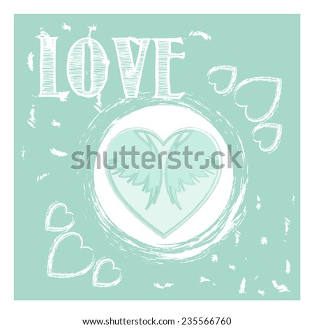 Valentin`s Day greeting card. Love card. Wedding card. Vector illustration.