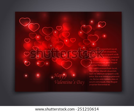 Valentine Abstract template brochure for design. Vector Illustration - stock vector