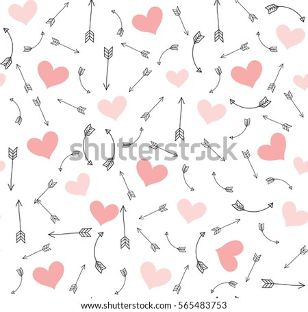 Valentine Arrows And Pink Hearts Vector Pattern. Seamless Hand Drawn Arrow  Background.