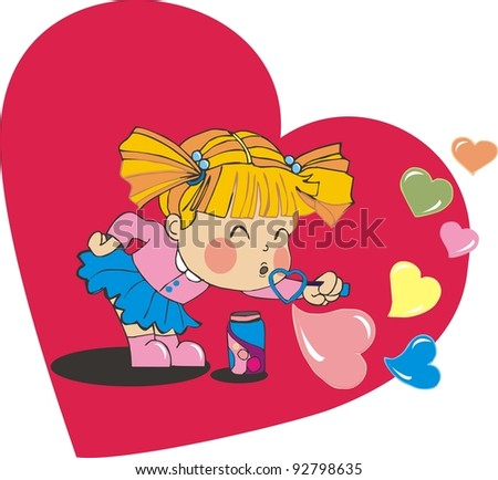valentine baby girl blowing heart bubbles - stock vector