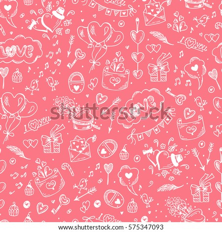 Valentine background. Love symbols Seamless pattern. Happy Valentine's day. Hand drawn doodle Hearts and Gifts. Vector illustration.