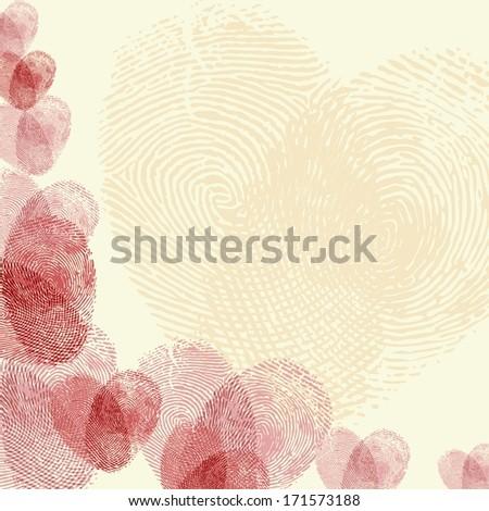 Valentine background (red fingerprint on light background) - stock vector