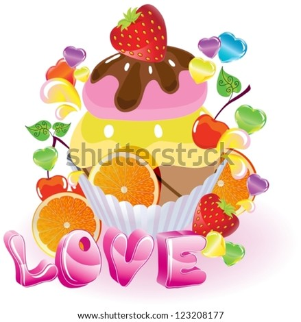 Valentine background with sweets, fruit, berries and ice cream and love, vector