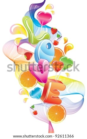 Valentine background with sweets, fruit, berries and love, abstract wave over white, vector, EPS10