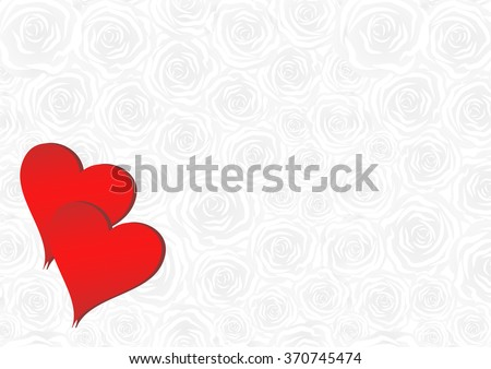 Valentine background with two hearts and rose pattern - stock vector