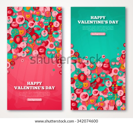 Valentine Banners Set. Vector Illustration. Flat Valentine's Day Icons in Circles on Textured Backdrop.  Love Concept Symbols. Cute Party Invitation. Place for your text. Valentine Menu Cover Design. - stock vector