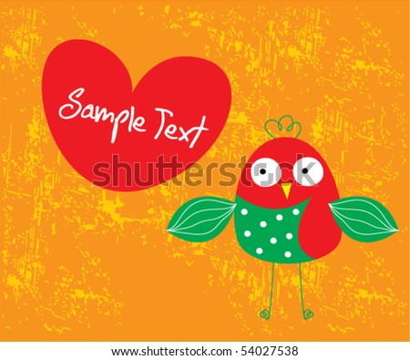 valentine bird love tag