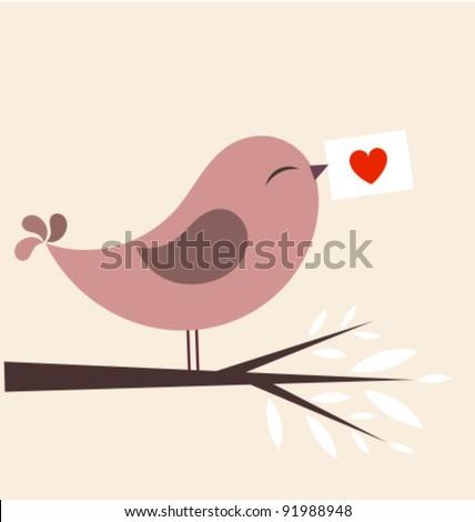 Bird Valentine Photos RoyaltyFree Images Vectors – Bird Valentine Card