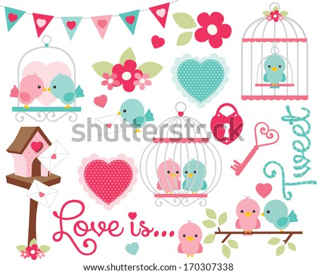 Valentine Birds - stock vector