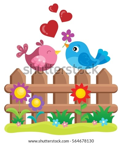 Valentine birds on fence theme 1 - eps10 vector illustration.