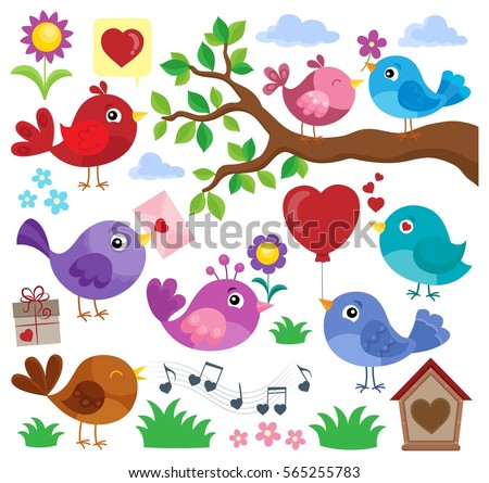 Valentine birds theme set 1 - eps10 vector illustration.