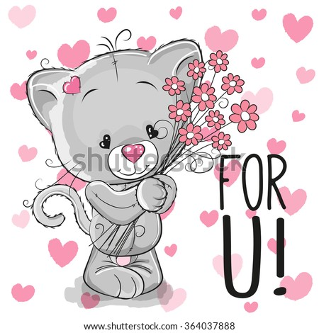 Valentine card Cute Cartoon Kitten with flowers on a heart background - stock vector