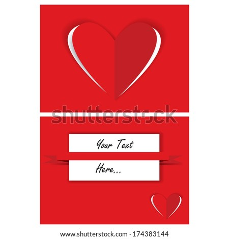 valentine card design with paper hearts - stock vector